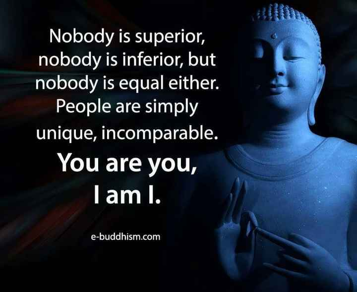 goutam buddha - Nobody is superior , nobody is inferior , but nobody is equal either . People are simply unique , incomparable . You are you , I am l . e - buddhism . com - ShareChat