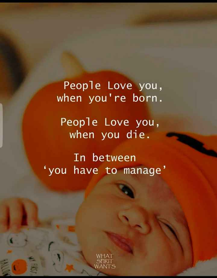 হাস্য কৌতুক 😁 - People Love you , when you ' re born . People Love you , when you die . In between you have to manage WHAT SPIRIT WANTS - ShareChat