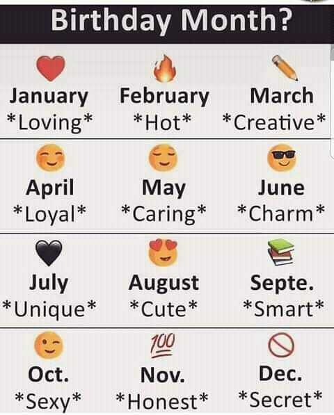 months - Birthday Month ? January * Loving * February March * Hot * * Creative * April * Loyal * May * Caring * June * Charm * July * Unique * August Septe . * Cute * * Smart * 1000 Nov . Dec . * Honest * * Secret * Oct . * Sexy * - ShareChat
