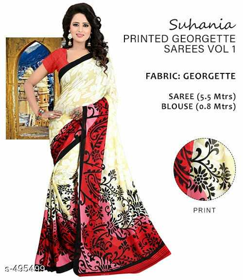 18 सप्टेंबर '18 न्यूज - Suhania PRINTED GEORGETTE SAREES VOL 1 FABRIC : GEORGETTE Upl SAREE ( 5 . 5 Mtrs ) BLOUSE ( 0 . 8 Mtrs ) PRINT S - 4954 . 99  - ShareChat