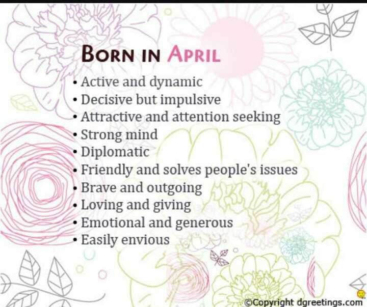 funny images - BORN IN APRIL • Active and dynamic • Decisive but impulsive Attractive and attention seeking • Strong mind • Diplomatic • Friendly and solves people ' s issues • Brave and outgoing • Loving and giving y • Emotional and generous • Easily envious © Copyright dgreetings . com - ShareChat
