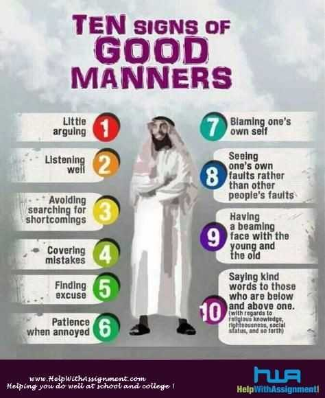 islamic status - TEN SIGNS OF GOOD MANNERS Little arguing Blaming one ' s own self Listening well Seeing one ' s own faults rather than other people ' s faults - Avoiding searching for shortcomings Having a beaming face with the young and the old Covering mistakes Finding excuse Saying kind words to those who are below and above one . ( with regards to religious knowledge , righteousness , social sfatus , and so forth ) Patience when annoyed www . Help WithAssignment . com Helping you do well at school and college ! NIR Help WithAssignment - ShareChat