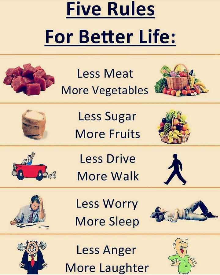 life line (ar) - Five Rules For Better Life : Less Meat More Vegetables Less Sugar More Fruits Less Drive More Walk DO 3 % Less Worry More Sleep ho Less Anger More Laughter - ShareChat
