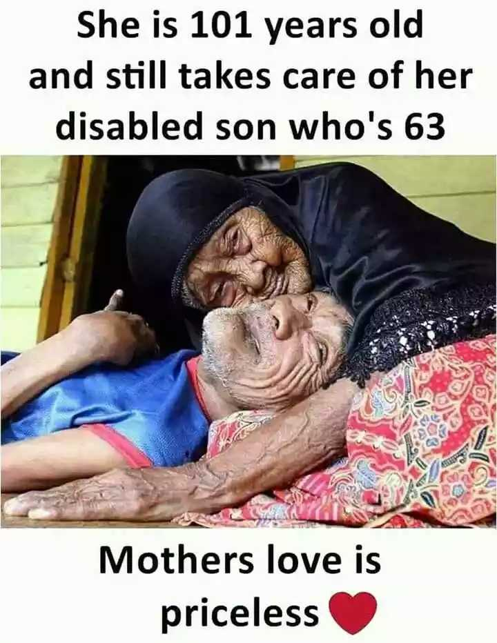 #maa - She is 101 years old and still takes care of her disabled son who ' s 63 Mothers love is priceless - ShareChat