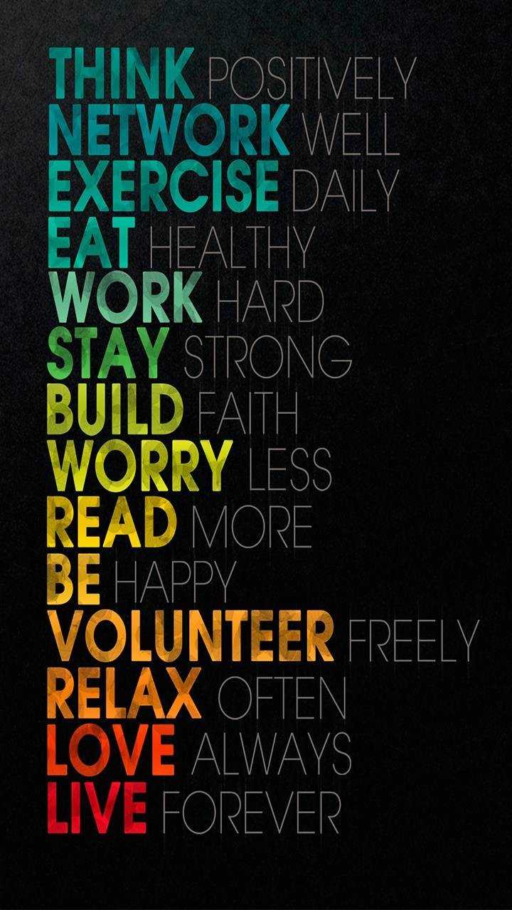 motivation - THINK POSITIVELY NETWORK WELL EXERCISE DAILY EAT HEALTHY WORK HARD STAY STRONG BUILD FAITH WORRY LESS READ MORE BE HAPPY VOLUNTEER FREELY RELAX OFTEN LOVE ALWAYS LIVE FOREVER - ShareChat