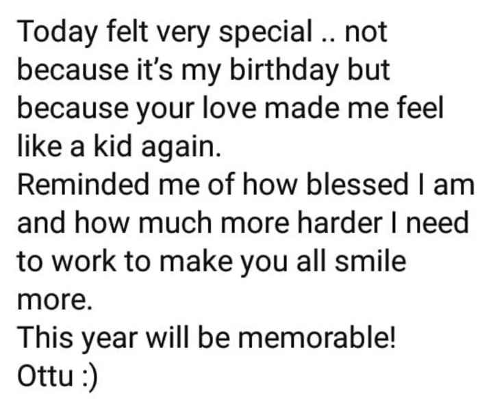 my favorite  hero - Today felt very special . . not because it ' s my birthday but because your love made me feel like a kid again . Reminded me of how blessed I am and how much more harder I need to work to make you all smile more This year will be memorable ! Ottu : ) - ShareChat