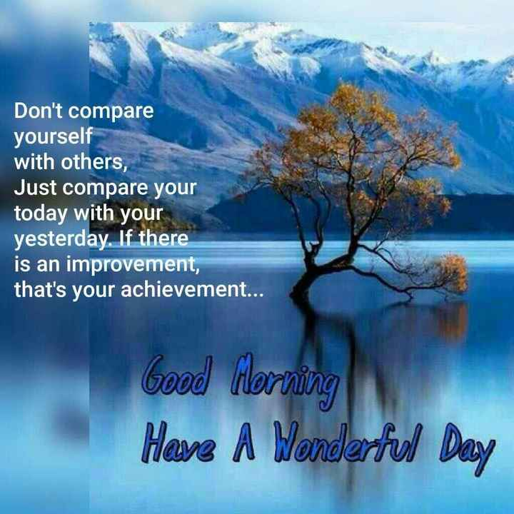 quotes for life - Don ' t compare yourself with others , Just compare your today with your yesterday . If there is an improvement , that ' s your achievement . . . Good Morning Have A Wonderful Day - ShareChat