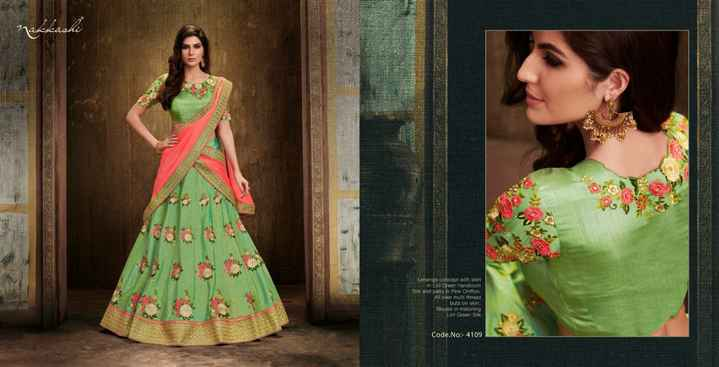 rizvi - Lehenga concept with skirt in Green handloom Silk and pain Pink Chiffon All over thread buta on skort Blouso in matching Lill Green Silk Code . No : - 4109 - ShareChat