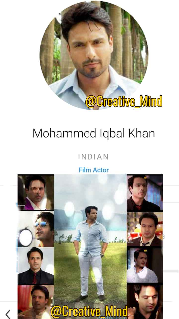 today's birthday 🎂🎈 - @ Creative _ Mind Mohammed Iqbal Khan INDIAN Film Actor UNE C . com @ Creative _ Mind - ShareChat